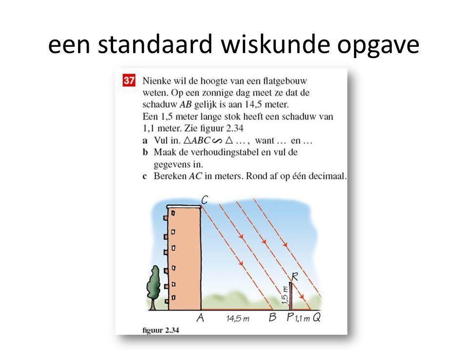 een standaard wiskunde opgave