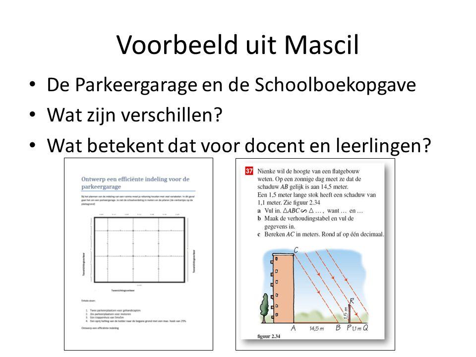 Voorbeeld uit Mascil De Parkeergarage en de Schoolboekopgave Wat zijn verschillen? Wat betekent dat voor docent en leerlingen?