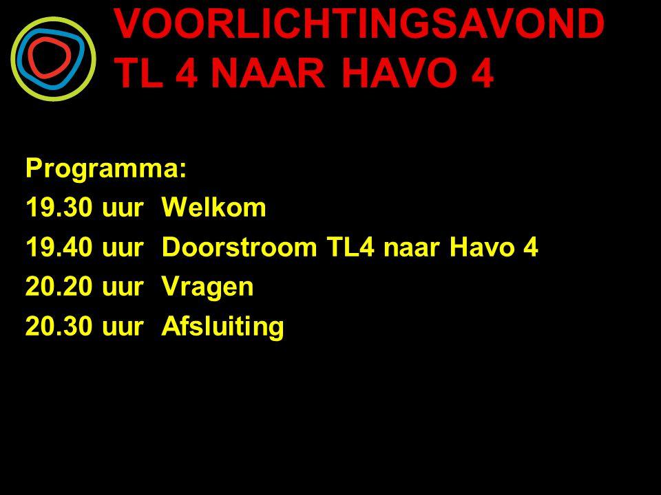 VOORLICHTINGSAVOND TL 4 NAAR HAVO 4 2 Trajecten: Traject voor MBO Traject voor HAVO