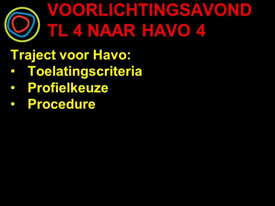 VOORLICHTINGSAVOND TL 4 NAAR HAVO 4 Traject voor Havo: Toelatingscriteria Profielkeuze Procedure