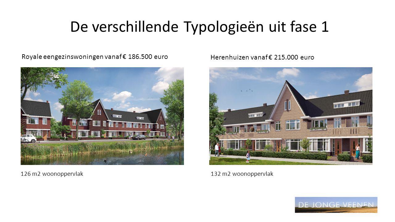 De verschillende Typologieën uit fase 1 Royale eengezinswoningen vanaf € 186.500 euro Herenhuizen vanaf € 215.000 euro 126 m2 woonoppervlak132 m2 woon