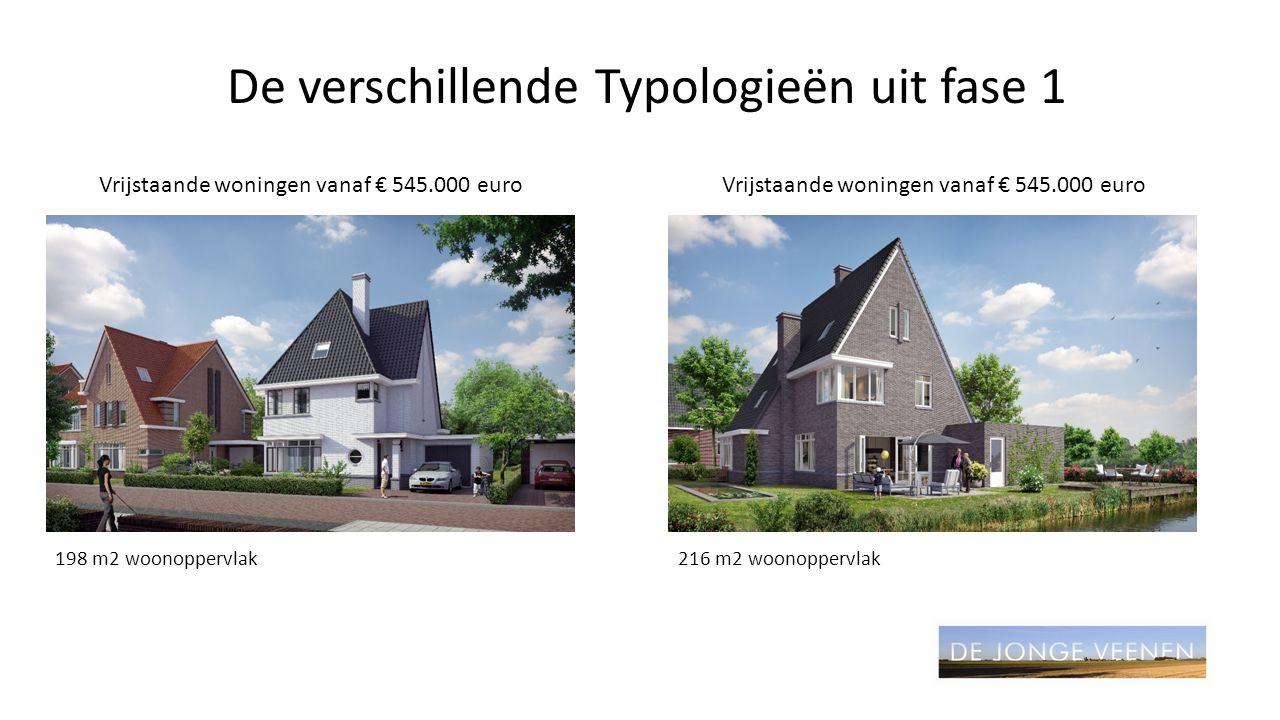 De verschillende Typologieën uit fase 1 Vrijstaande woningen vanaf € 545.000 euro 198 m2 woonoppervlak216 m2 woonoppervlak Vrijstaande woningen vanaf