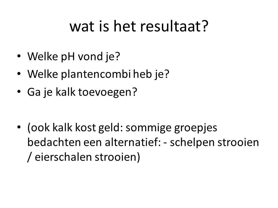 wat is het resultaat? Welke pH vond je? Welke plantencombi heb je? Ga je kalk toevoegen? (ook kalk kost geld: sommige groepjes bedachten een alternati