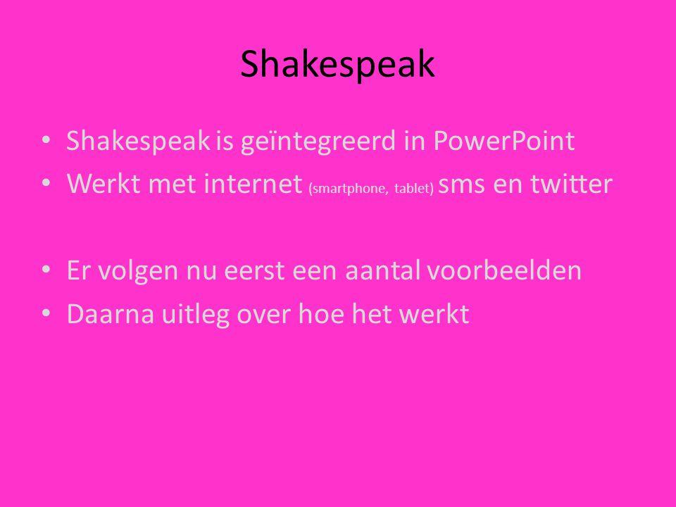 Shakespeak Shakespeak is geïntegreerd in PowerPoint Werkt met internet (smartphone, tablet) sms en twitter Er volgen nu eerst een aantal voorbeelden D