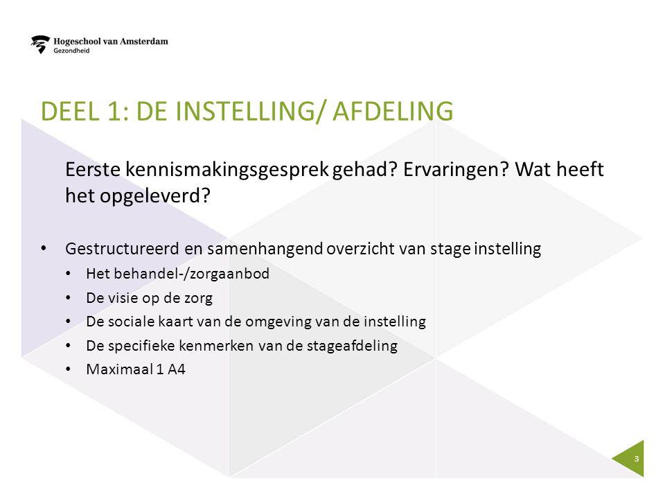DEEL 1: DE INSTELLING/ AFDELING Eerste kennismakingsgesprek gehad.