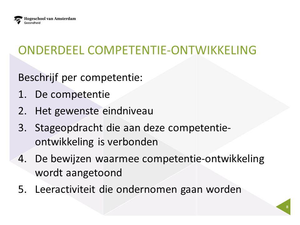 ONDERDEEL COMPETENTIE-ONTWIKKELING Beschrijf per competentie: 1.De competentie 2.Het gewenste eindniveau 3.Stageopdracht die aan deze competentie- ontwikkeling is verbonden 4.De bewijzen waarmee competentie-ontwikkeling wordt aangetoond 5.Leeractiviteit die ondernomen gaan worden 8