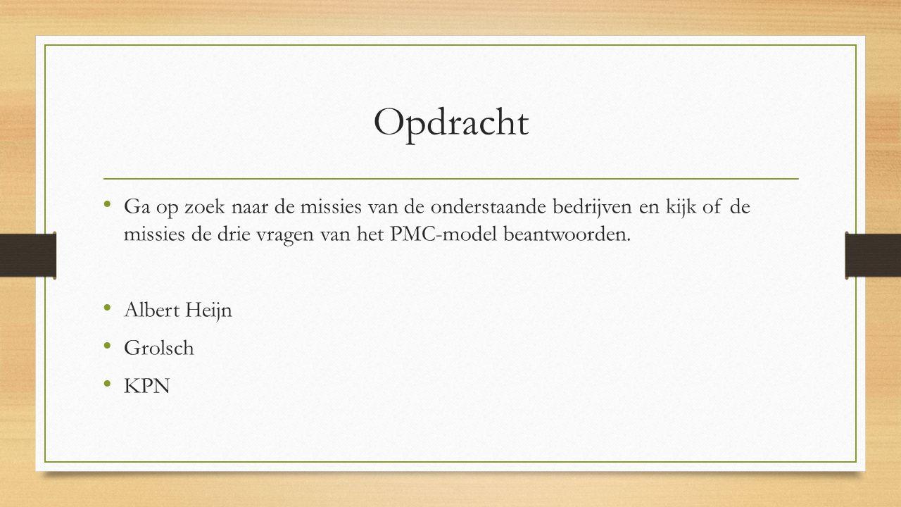 Opdracht Ga op zoek naar de missies van de onderstaande bedrijven en kijk of de missies de drie vragen van het PMC-model beantwoorden. Albert Heijn Gr