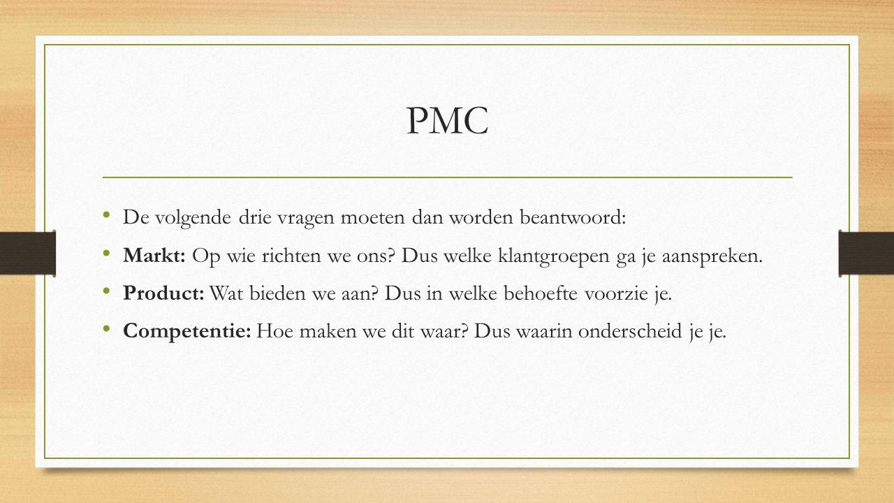 PMC De volgende drie vragen moeten dan worden beantwoord: Markt: Op wie richten we ons? Dus welke klantgroepen ga je aanspreken. Product: Wat bieden w