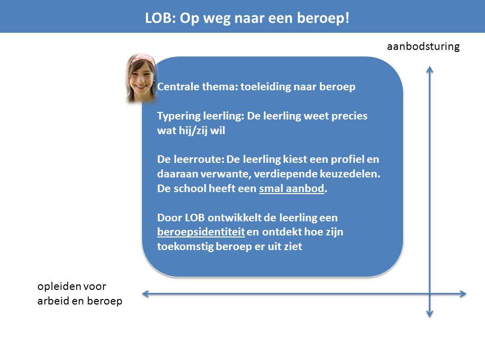 LOB: Op weg naar een beroep! aanbodsturing opleiden voor arbeid en beroep Centrale thema: toeleiding naar beroep Typering leerling: De leerling weet p