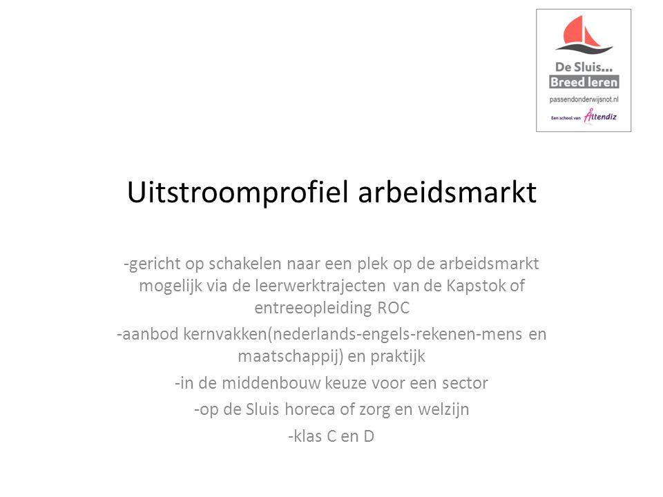 Uitstroomprofiel arbeidsmarkt -gericht op schakelen naar een plek op de arbeidsmarkt mogelijk via de leerwerktrajecten van de Kapstok of entreeopleiding ROC -aanbod kernvakken(nederlands-engels-rekenen-mens en maatschappij) en praktijk -in de middenbouw keuze voor een sector -op de Sluis horeca of zorg en welzijn -klas C en D