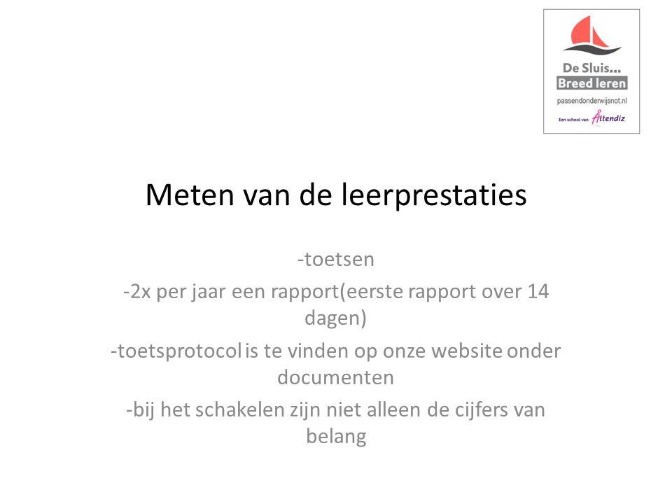 Meten van de leerprestaties -toetsen -2x per jaar een rapport(eerste rapport over 14 dagen) -toetsprotocol is te vinden op onze website onder documenten -bij het schakelen zijn niet alleen de cijfers van belang