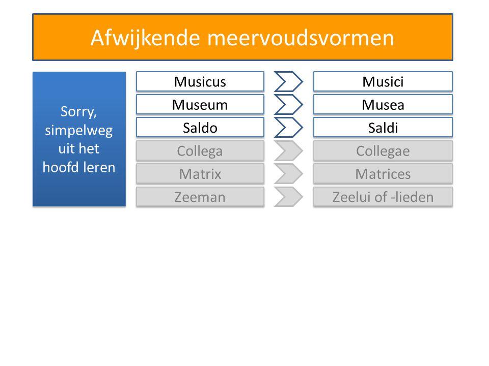 Afwijkende meervoudsvormen Sorry, simpelweg uit het hoofd leren Collega Collegae Matrix Matrices Zeeman Zeelui of -lieden Musicus Musici Museum Musea Saldo Saldi
