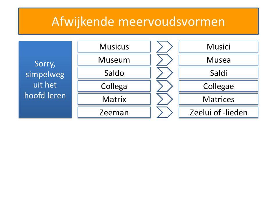 Afwijkende meervoudsvormen Sorry, simpelweg uit het hoofd leren Musicus Musici Museum Musea Saldo Saldi Collega Collegae Matrix Matrices Zeeman Zeelui of -lieden