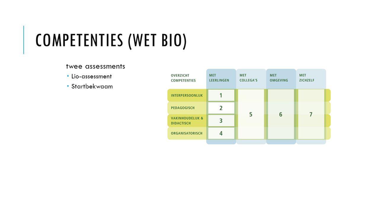COMPETENTIES (WET BIO) twee assessments  Lio-assessment  Startbekwaam