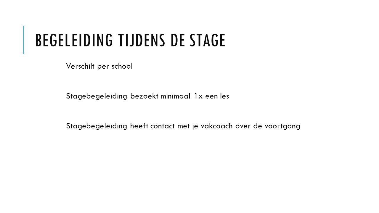 BEGELEIDING TIJDENS DE STAGE Verschilt per school Stagebegeleiding bezoekt minimaal 1x een les Stagebegeleiding heeft contact met je vakcoach over de