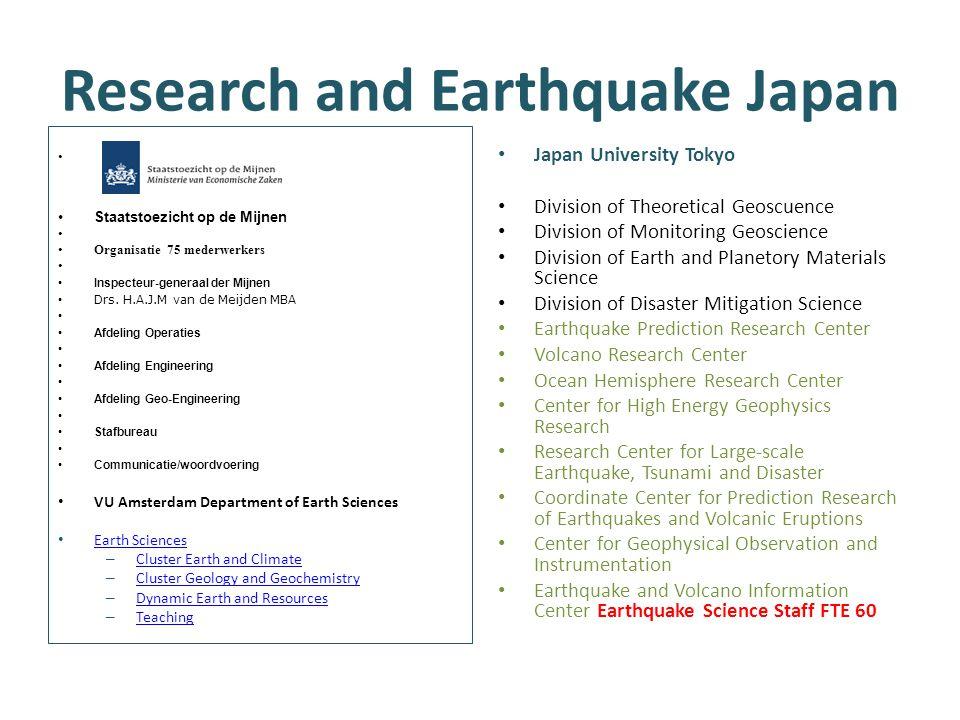 Research and Earthquake Japan Staatstoezicht op de Mijnen Organisatie 75 mederwerkers Inspecteur-generaal der Mijnen Drs. H.A.J.M van de Meijden MBA A
