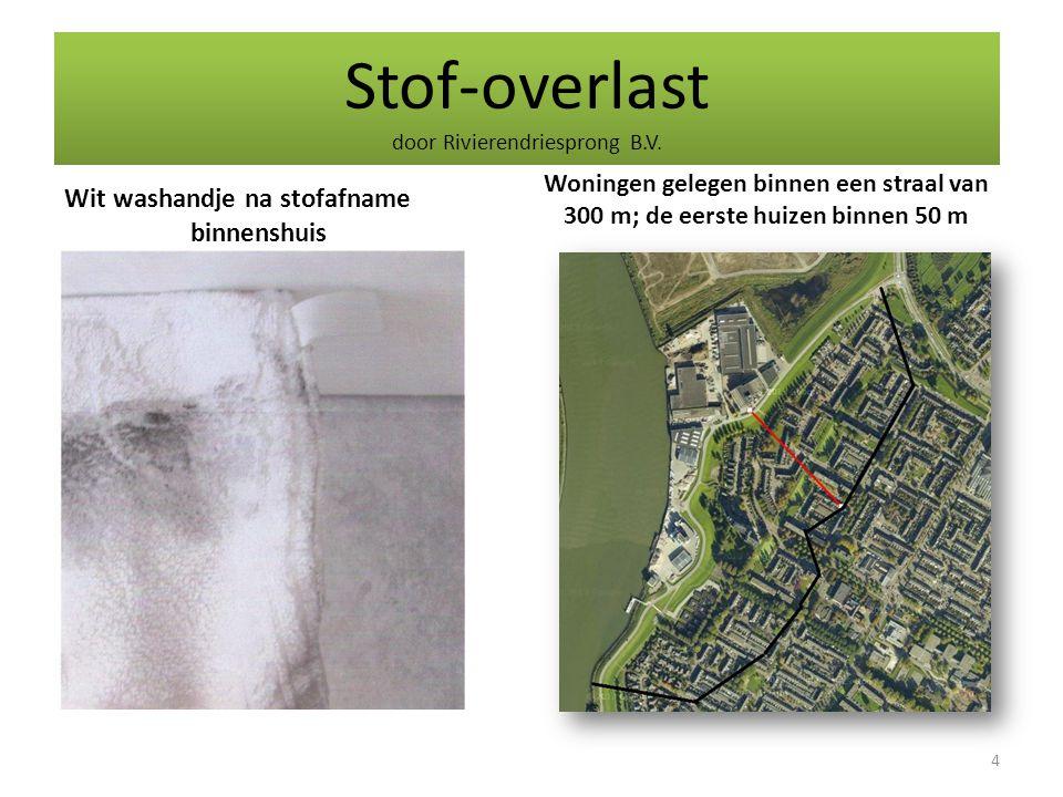 Stof-overlast door Rivierendriesprong B.V. Wit washandje na stofafname binnenshuis Woningen gelegen binnen een straal van 300 m; de eerste huizen binn