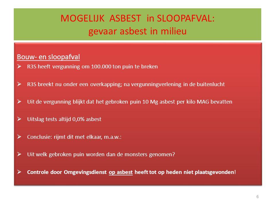 MOGELIJK ASBEST in SLOOPAFVAL: gevaar asbest in milieu Bouw- en sloopafval  R3S heeft vergunning om 100.000 ton puin te breken  R3S breekt nu onder een overkapping; na vergunningverlening in de buitenlucht  Uit de vergunning blijkt dat het gebroken puin 10 Mg asbest per kilo MAG bevatten  Uitslag tests altijd 0,0% asbest  Conclusie: rijmt dit met elkaar, m.a.w.:  Uit welk gebroken puin worden dan de monsters genomen.