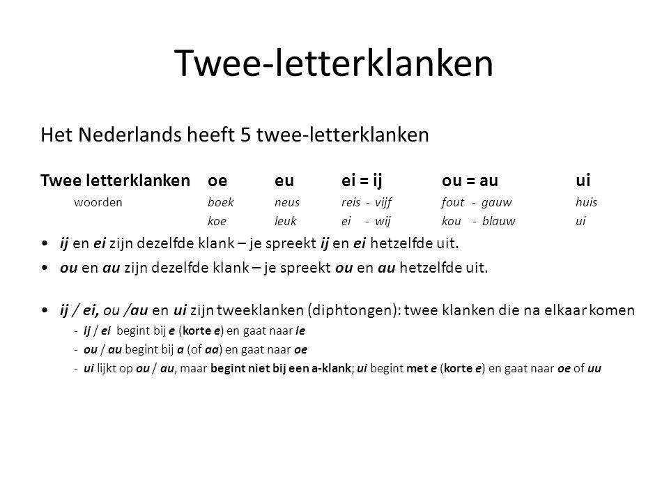 Twee-letterklanken Het Nederlands heeft 5 twee-letterklanken Twee letterklanken oeeuei = ijou = au ui woordenboekneusreis -vijffout - gauw huis koeleu