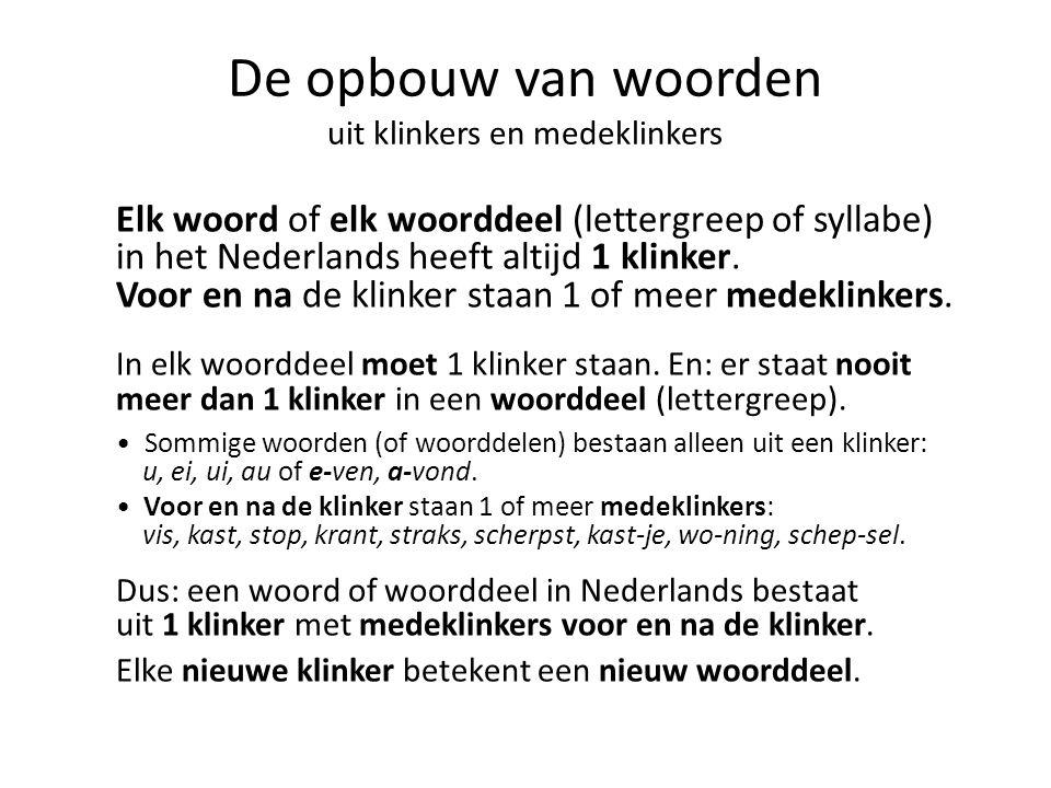 De opbouw van woorden uit klinkers en medeklinkers Elk woord of elk woorddeel (lettergreep of syllabe) in het Nederlands heeft altijd 1 klinker. Voor
