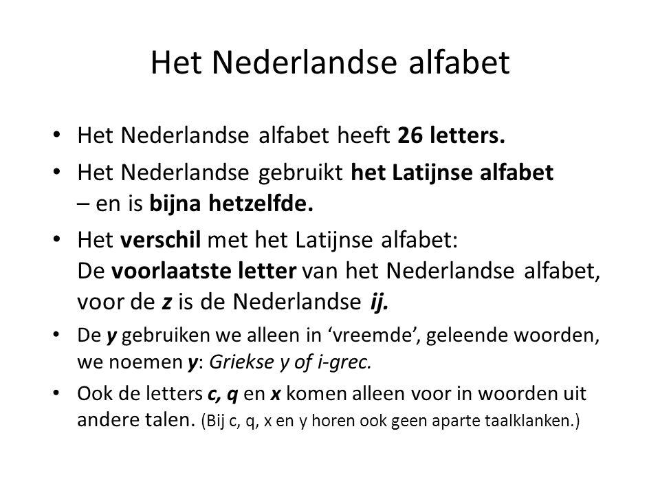 Het Nederlandse alfabet Het Nederlandse alfabet heeft 26 letters. Het Nederlandse gebruikt het Latijnse alfabet – en is bijna hetzelfde. Het verschil