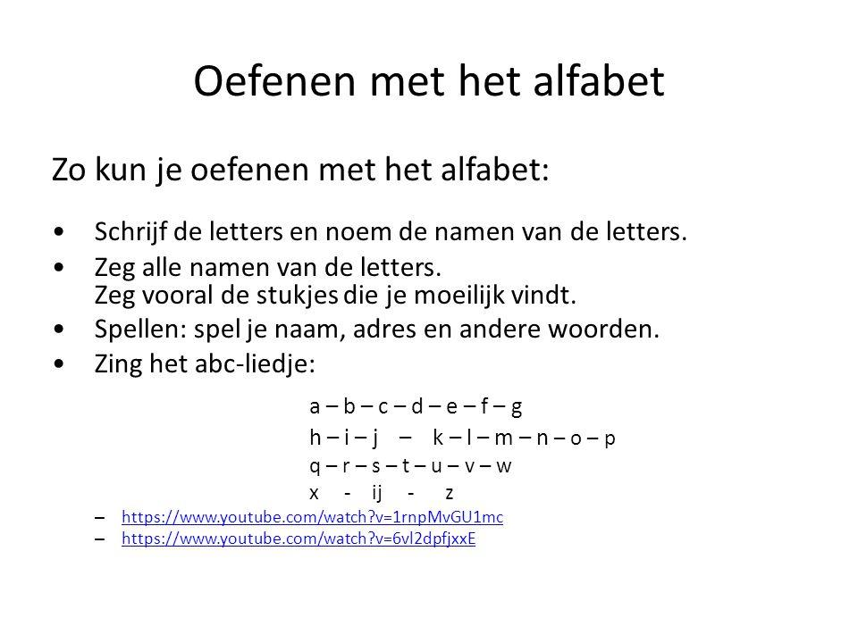 Oefenen met het alfabet Zo kun je oefenen met het alfabet: Schrijf de letters en noem de namen van de letters. Zeg alle namen van de letters. Zeg voor