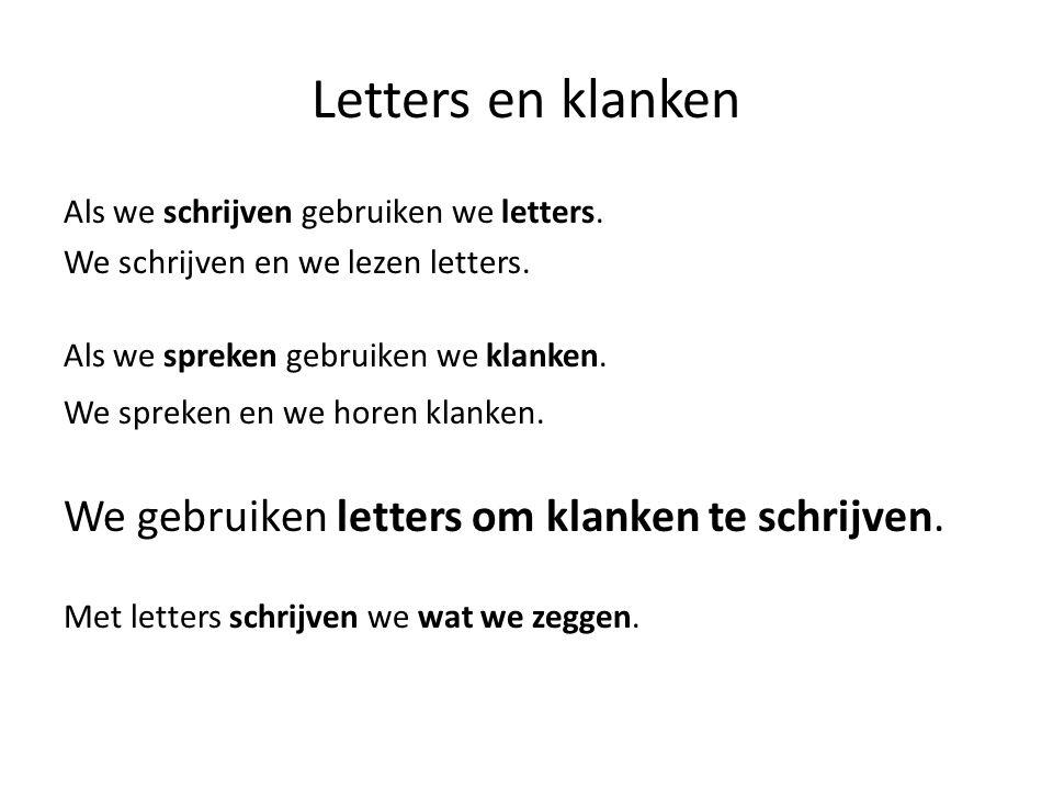 De klanken van het Nederlands Als we spreken gebruiken we klanken.