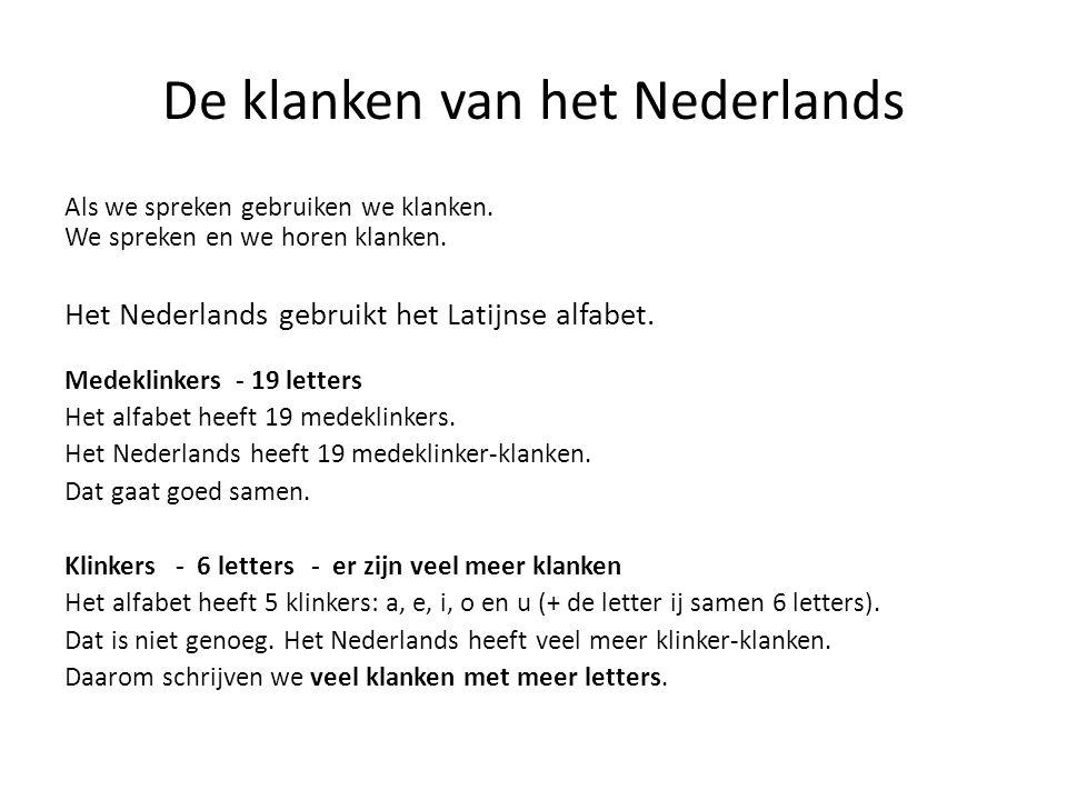 De klanken van het Nederlands Als we spreken gebruiken we klanken. We spreken en we horen klanken. Het Nederlands gebruikt het Latijnse alfabet. Medek