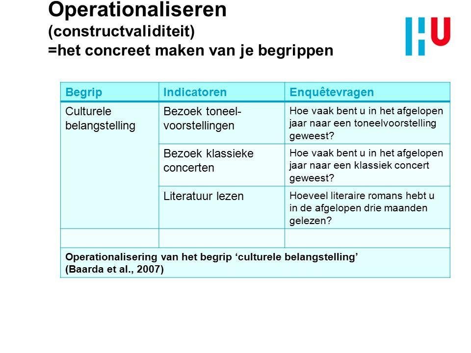 Operationaliseren (constructvaliditeit) =het concreet maken van je begrippen BegripIndicatorenEnquêtevragen Culturele belangstelling Bezoek toneel- vo
