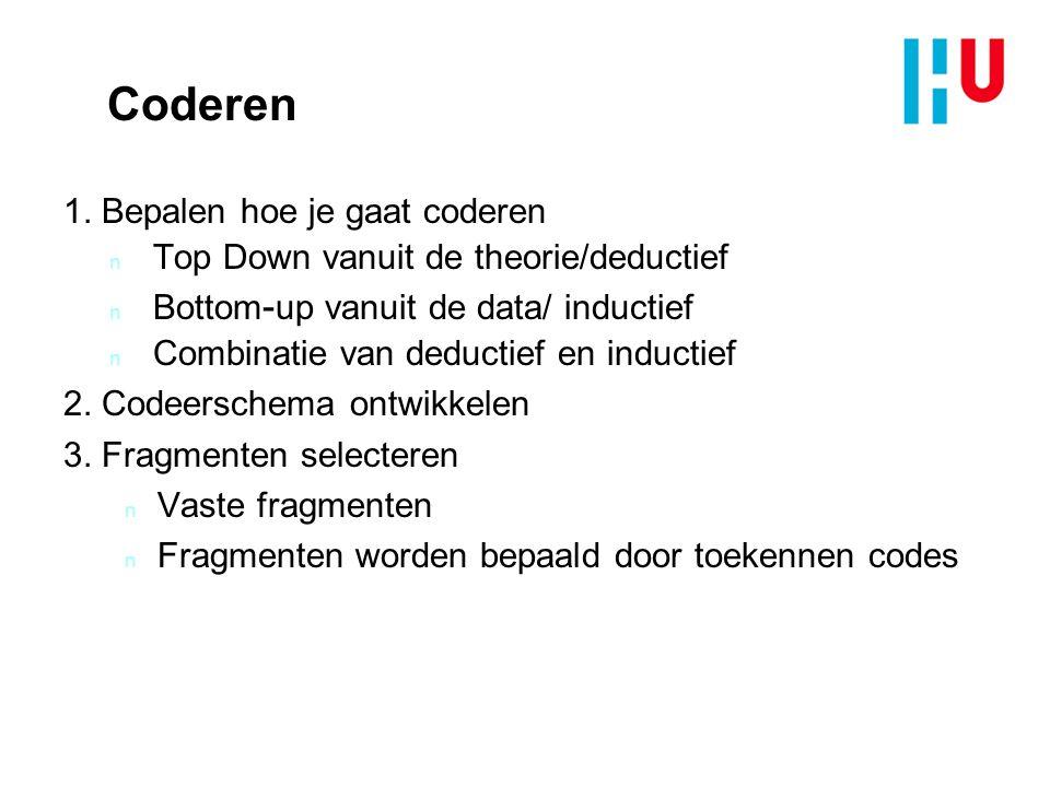 Coderen 1. Bepalen hoe je gaat coderen n Top Down vanuit de theorie/deductief n Bottom - up vanuit de data/ inductief n Combinatie van deductief en in