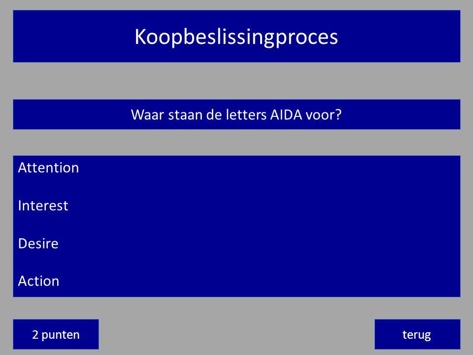 Koopbeslissingproces terug Waar staan de letters AIDA voor.