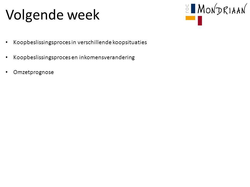 Volgende week Koopbeslissingsproces in verschillende koopsituaties Koopbeslissingsproces en inkomensverandering Omzetprognose