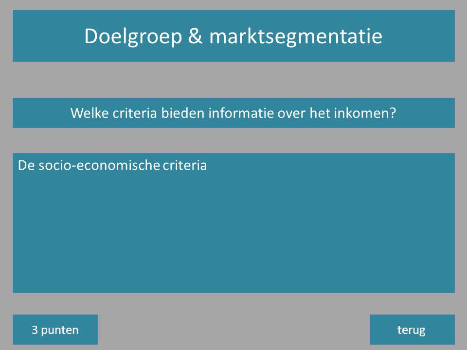Doelgroep & marktsegmentatie terug Welke criteria bieden informatie over het inkomen.