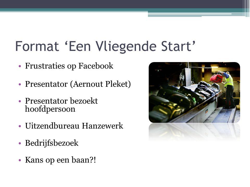 Format 'Een Vliegende Start' Frustraties op Facebook Presentator (Aernout Pleket) Presentator bezoekt hoofdpersoon Uitzendbureau Hanzewerk Bedrijfsbezoek Kans op een baan !