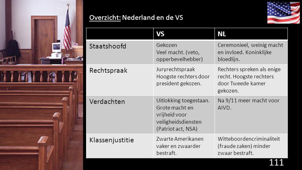 111 de grondwet. Overzicht: Nederland en de VS VSNL Staatshoofd Gekozen Veel macht. (veto, opperbevelhebber) Ceremonieel, weinig macht en invloed. Kon