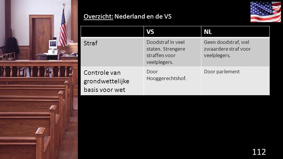 112 de grondwet. Overzicht: Nederland en de VS VSNL Straf Doodstraf in veel staten. Strengere straffen voor veelplegers. Geen doodstraf, wel zwaardere
