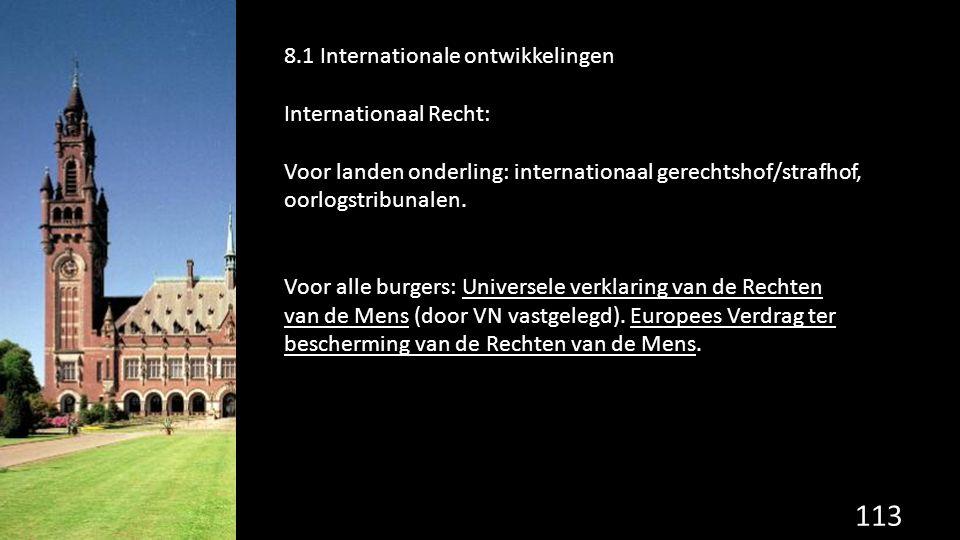 113 de grondwet. 8.1 Internationale ontwikkelingen Internationaal Recht: Voor landen onderling: internationaal gerechtshof/strafhof, oorlogstribunalen