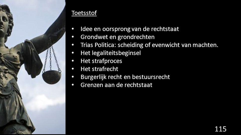 Toetsstof Idee en oorsprong van de rechtstaat Grondwet en grondrechten Trias Politica: scheiding of evenwicht van machten.