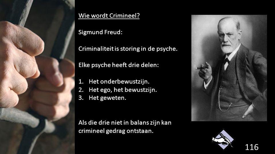 116 de grondwet. Wie wordt Crimineel? Sigmund Freud: Criminaliteit is storing in de psyche. Elke psyche heeft drie delen: 1.Het onderbewustzijn. 2.Het