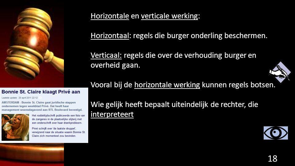 Horizontale en verticale werking: Horizontaal: regels die burger onderling beschermen. Verticaal: regels die over de verhouding burger en overheid gaa