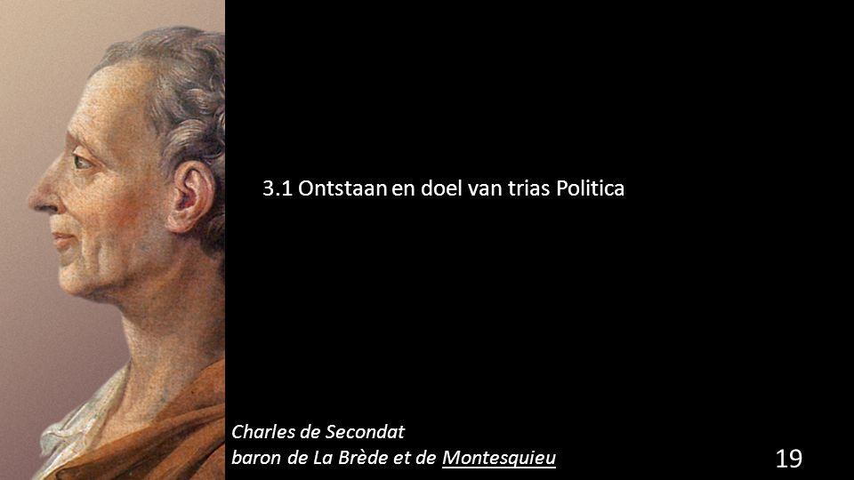 3.1 Ontstaan en doel van trias Politica 19 de grondwet. Charles de Secondat baron de La Brède et de Montesquieu
