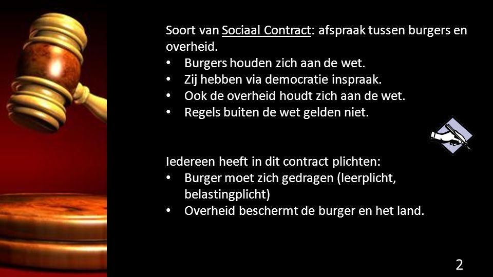 Soort van Sociaal Contract: afspraak tussen burgers en overheid. Burgers houden zich aan de wet. Zij hebben via democratie inspraak. Ook de overheid h