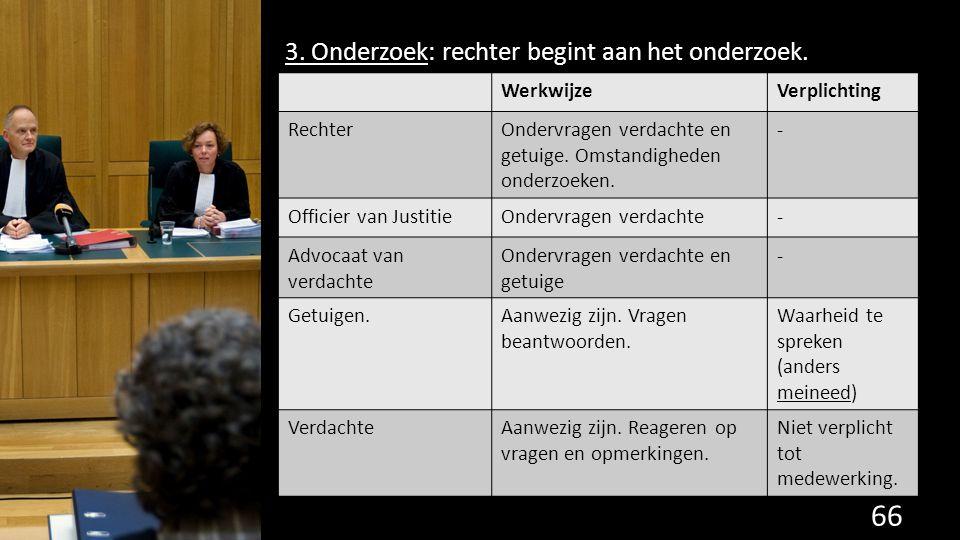 3. Onderzoek: rechter begint aan het onderzoek. 66 de grondwet. WerkwijzeVerplichting RechterOndervragen verdachte en getuige. Omstandigheden onderzoe