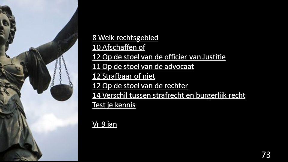 8 Welk rechtsgebied 10 Afschaffen of 12 Op de stoel van de officier van Justitie 11 Op de stoel van de advocaat 12 Strafbaar of niet 12 Op de stoel va