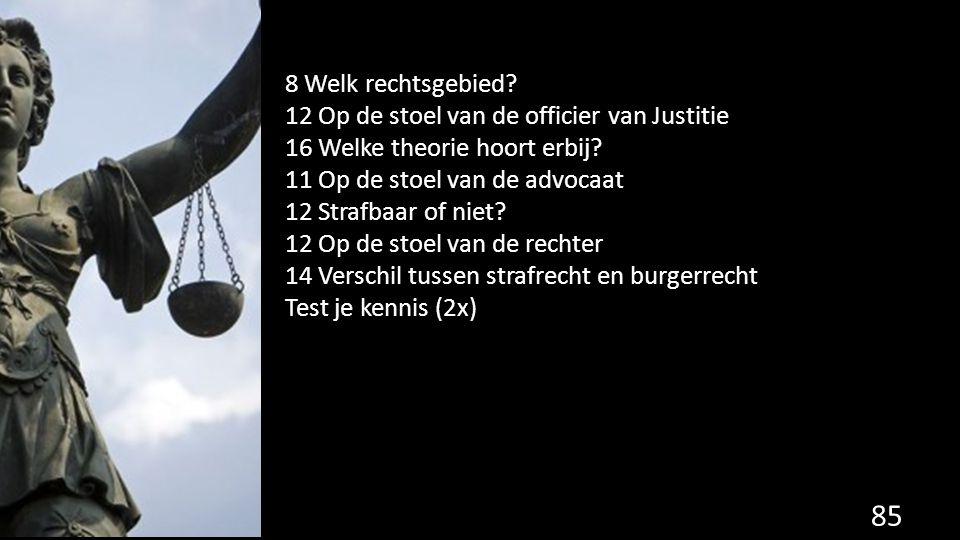 8 Welk rechtsgebied? 12 Op de stoel van de officier van Justitie 16 Welke theorie hoort erbij? 11 Op de stoel van de advocaat 12 Strafbaar of niet? 12
