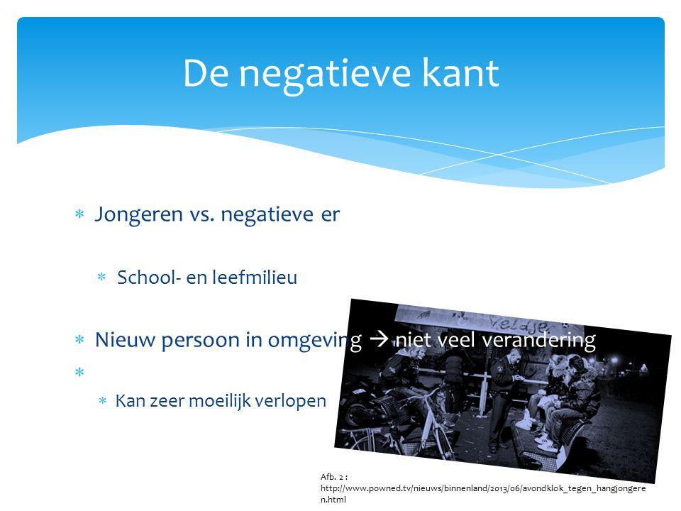  Jongeren vs. negatieve ervaringen  School- en leefmilieu  Nieuw persoon in omgeving  niet veel verandering   Kan zeer moeilijk verlopen De nega