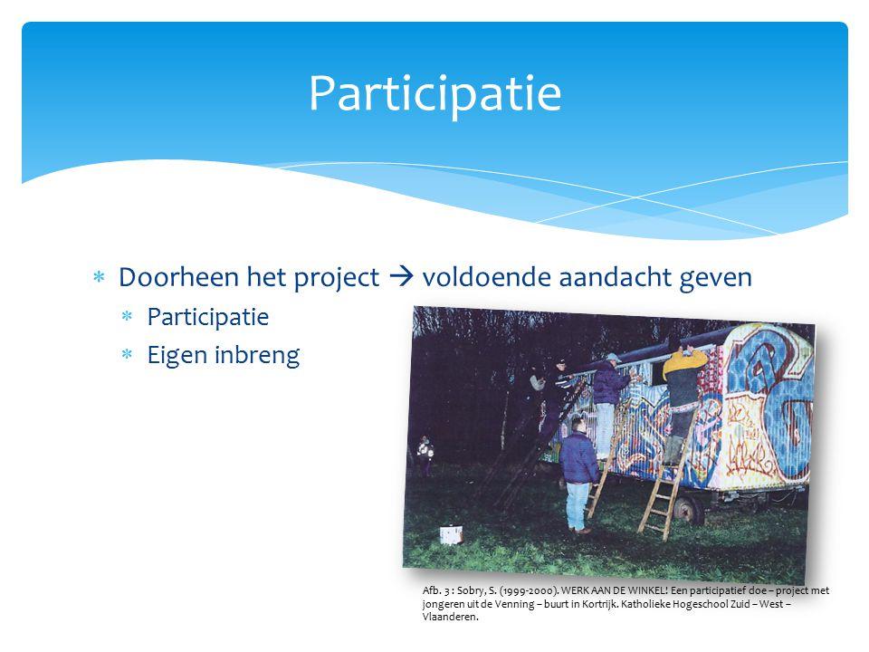  Doorheen het project  voldoende aandacht geven  Participatie  Eigen inbreng Participatie Afb. 3 : Sobry, S. (1999-2000). WERK AAN DE WINKEL! Een