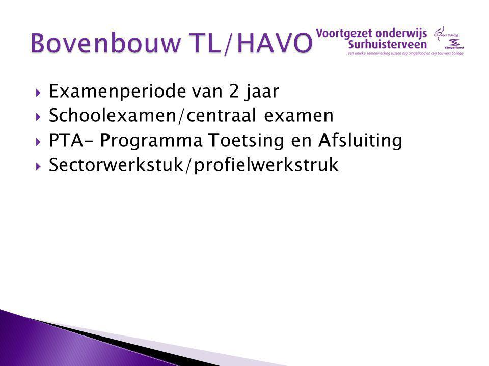  Examenperiode van 2 jaar  Schoolexamen/centraal examen  PTA- Programma Toetsing en Afsluiting  Sectorwerkstuk/profielwerkstruk