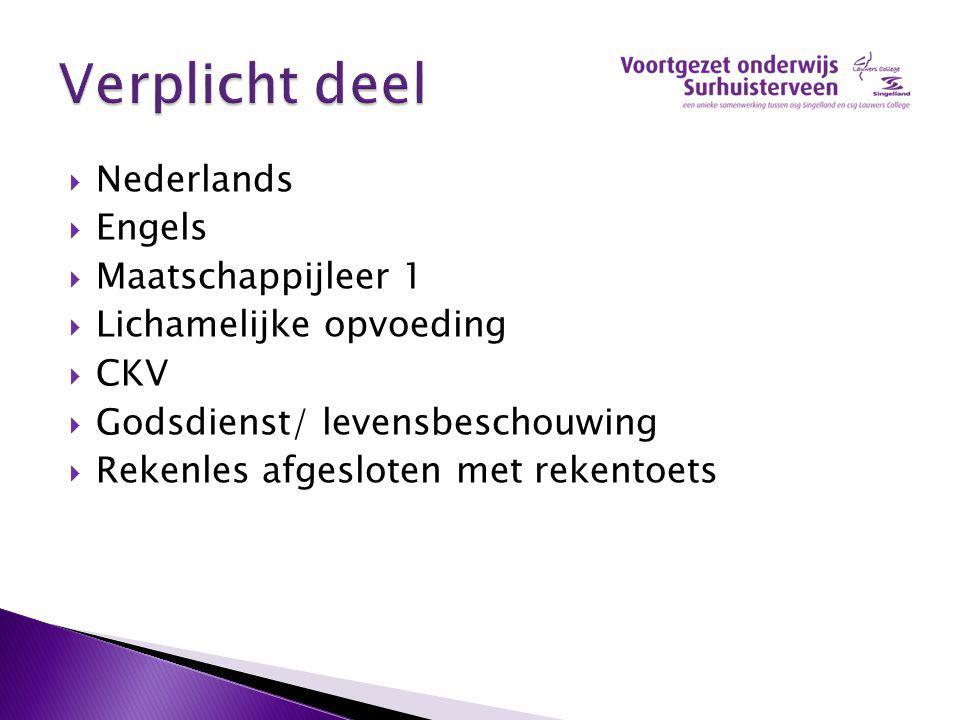  Nederlands  Engels  Maatschappijleer 1  Lichamelijke opvoeding  CKV  Godsdienst/ levensbeschouwing  Rekenles afgesloten met rekentoets