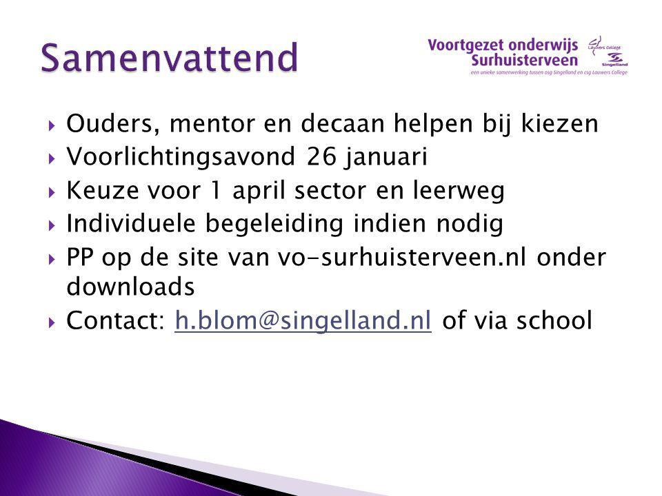 Ouders, mentor en decaan helpen bij kiezen  Voorlichtingsavond 26 januari  Keuze voor 1 april sector en leerweg  Individuele begeleiding indien n